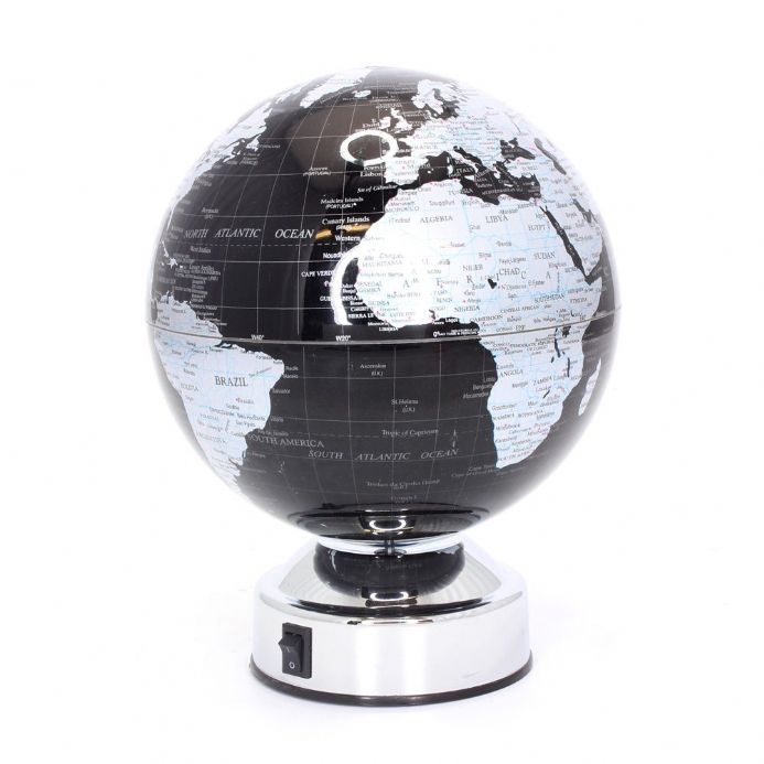 Black and Silver Battery Operated Vintage Style Rotating Globe